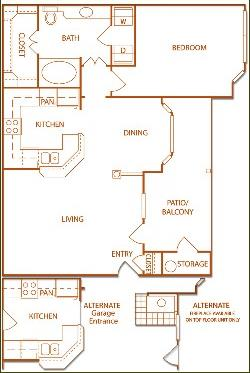 797 sq. ft. A2-Vineyard floor plan