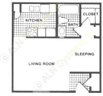 426 sq. ft. E-1 floor plan