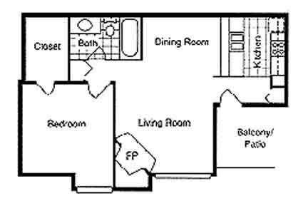 688 sq. ft. A1 floor plan