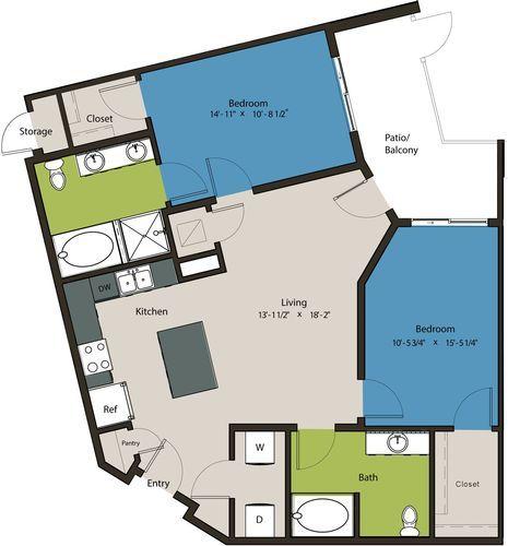 1,127 sq. ft. B4-HC floor plan
