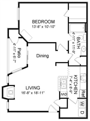 772 sq. ft. A2 floor plan