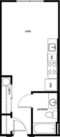 382 sq. ft. E0-B-II floor plan