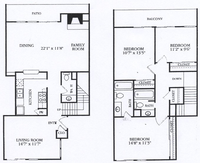 1,485 sq. ft. C4 floor plan