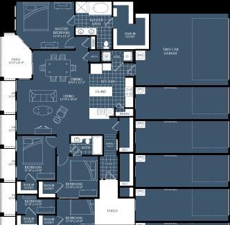 1,537 sq. ft. C1 floor plan