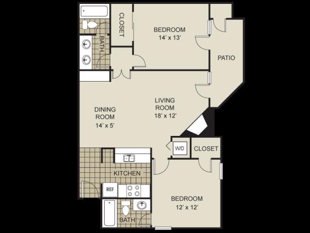 983 sq. ft. B9-C floor plan