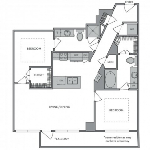 1,130 sq. ft. I floor plan