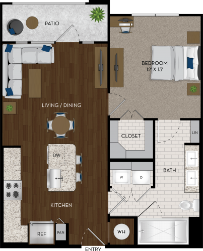 731 sq. ft. A2 floor plan