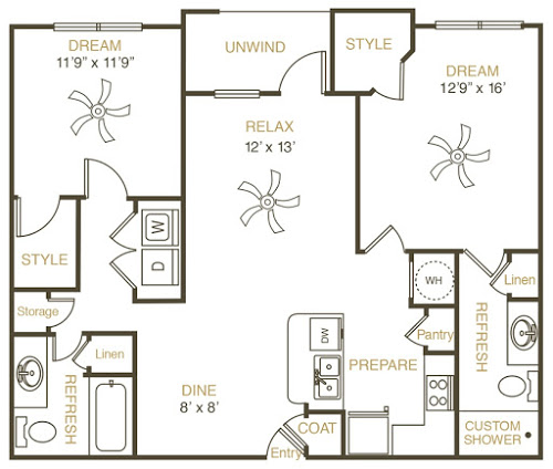 1,103 sq. ft. B1 floor plan