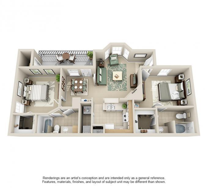 991 sq. ft. Holly floor plan