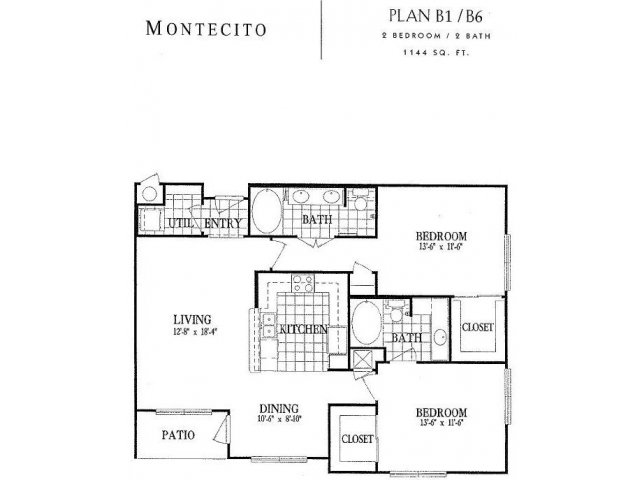1,144 sq. ft. B1 floor plan