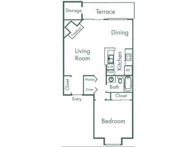 734 sq. ft. A4 floor plan