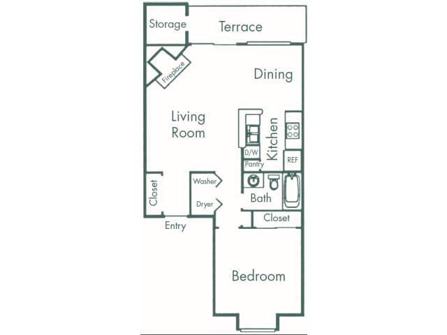 734 sq. ft. A4 floor plan