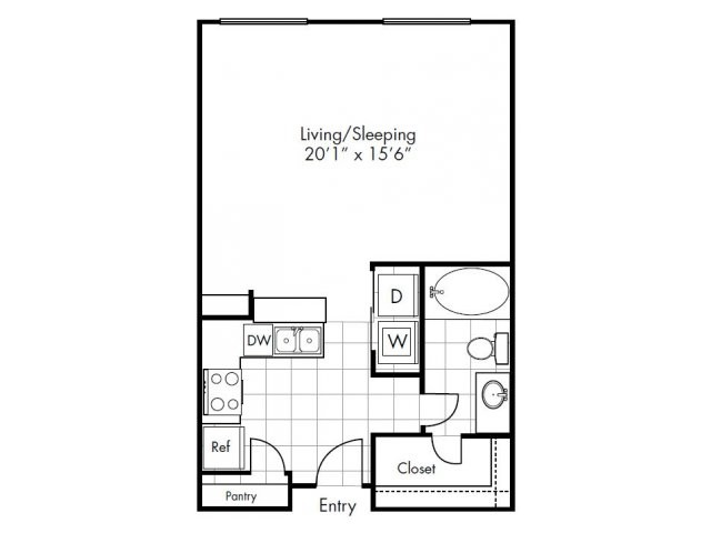 632 sq. ft. Parker floor plan