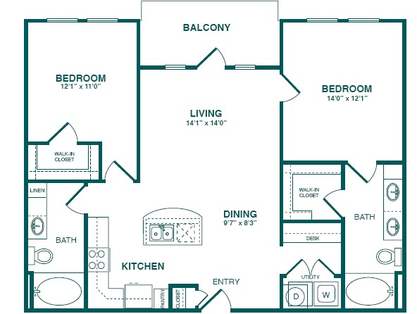 1,062 sq. ft. C1 floor plan