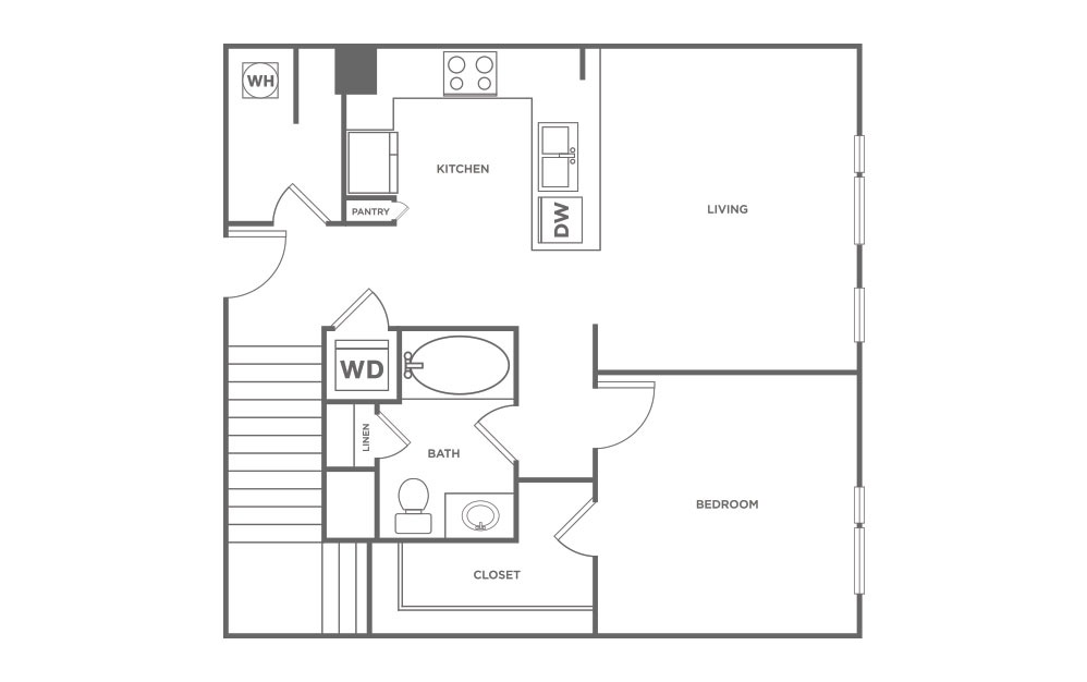 1,114 sq. ft. L5 floor plan