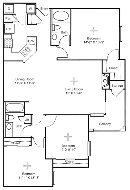 1,340 sq. ft. Colossal floor plan