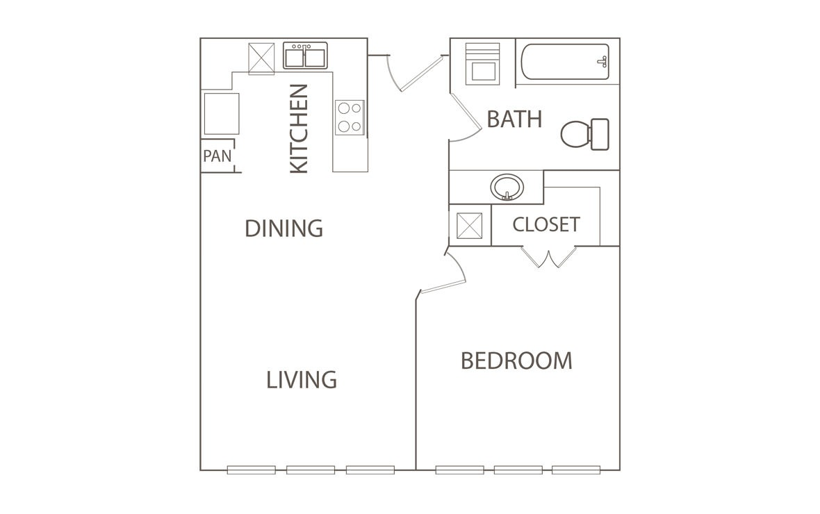 650 sq. ft. Secretarate/50% floor plan