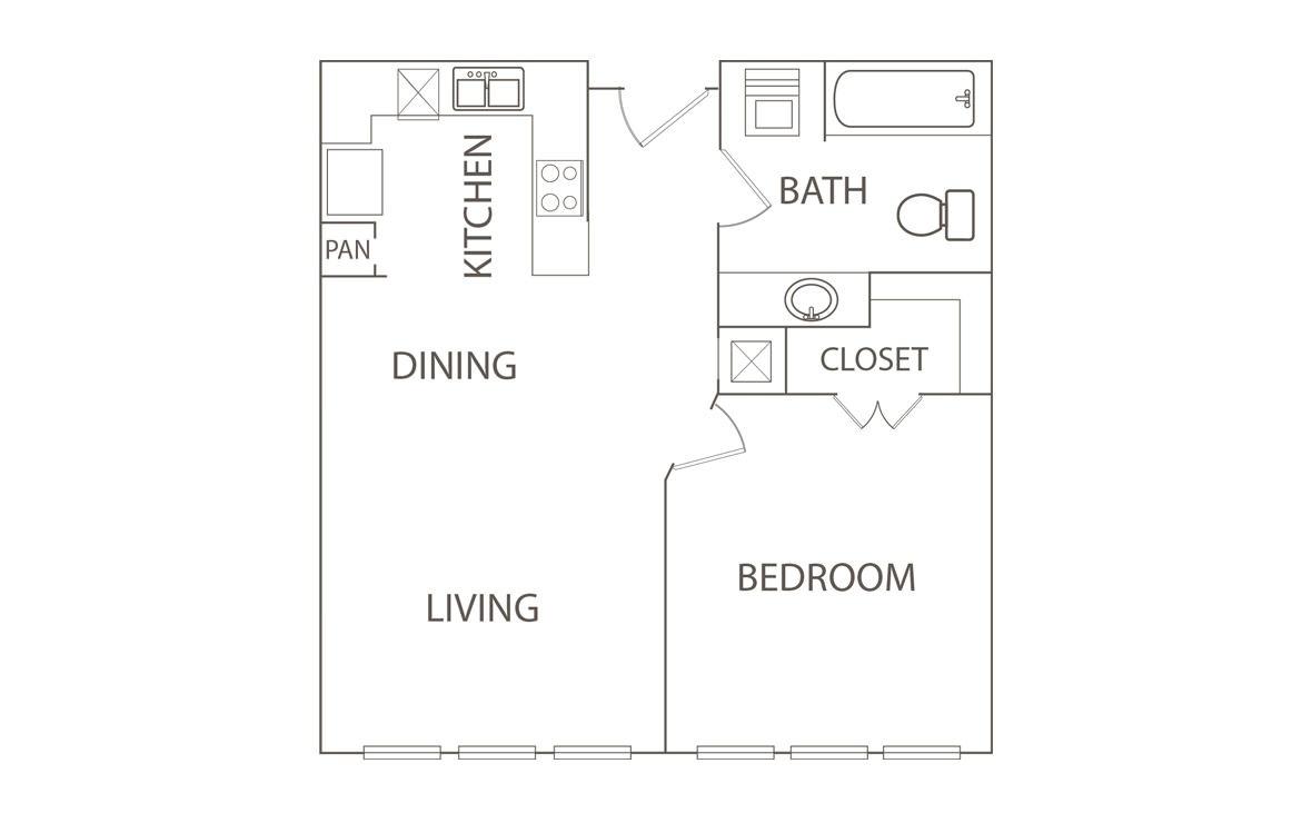 650 sq. ft. Secretarate/50% floor plan