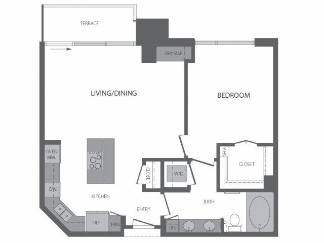 834 sq. ft. D floor plan