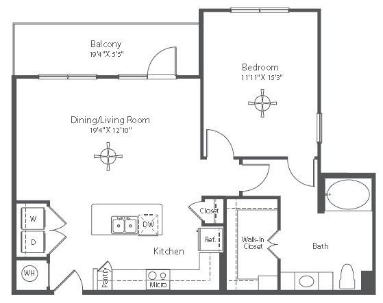907 sq. ft. A17 floor plan