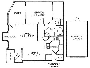 857 sq. ft. A4 floor plan
