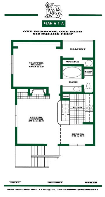 619 sq. ft. A1A PH I floor plan