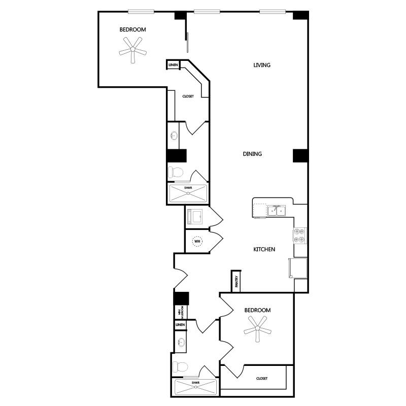 1,356 sq. ft. B3 floor plan