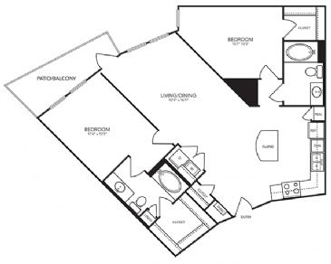 1,131 sq. ft. B7 floor plan