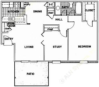 830 sq. ft. E floor plan