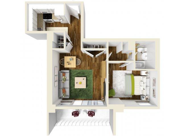 580 sq. ft. floor plan
