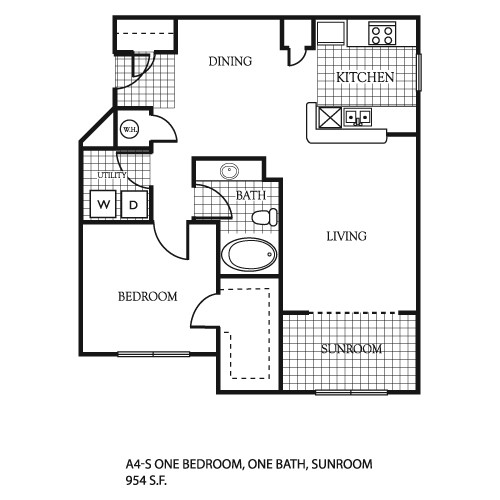 954 sq. ft. A5 floor plan