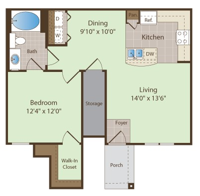 772 sq. ft. ORBISON floor plan