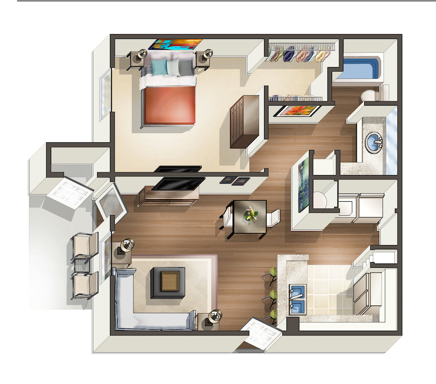 729 sq. ft. A1 floor plan