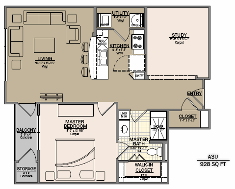 1,006 sq. ft. B4 floor plan