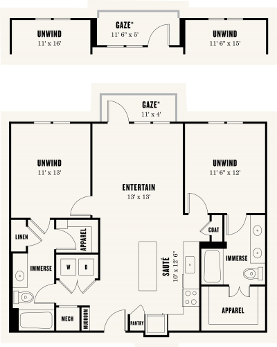 1,112 sq. ft. B2 floor plan