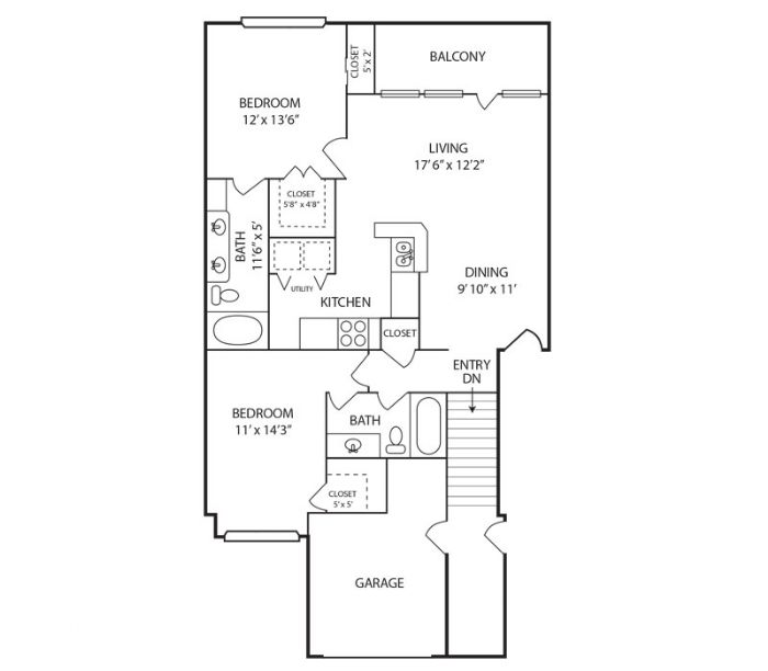 1,102 sq. ft. Cypress floor plan