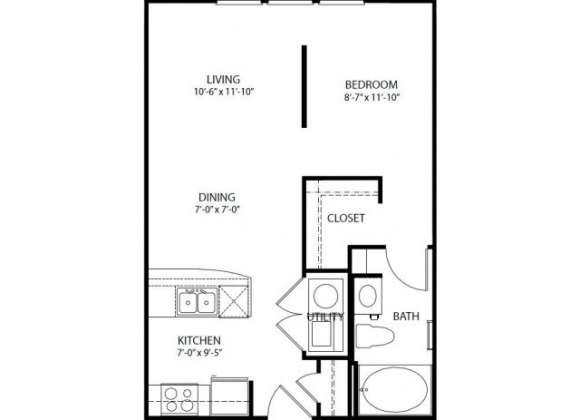 580 sq. ft. E2 PH3 floor plan