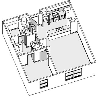 878 sq. ft. floor plan