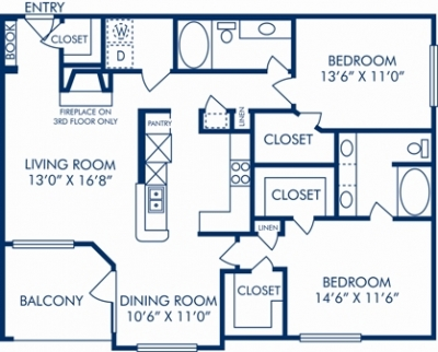 1,277 sq. ft. O floor plan