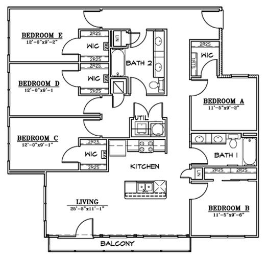 1,597 sq. ft. F1A floor plan