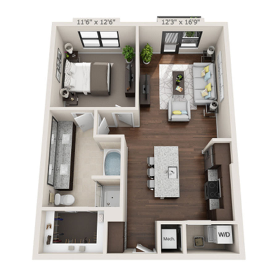 797 sq. ft. to 825 sq. ft. A3 floor plan