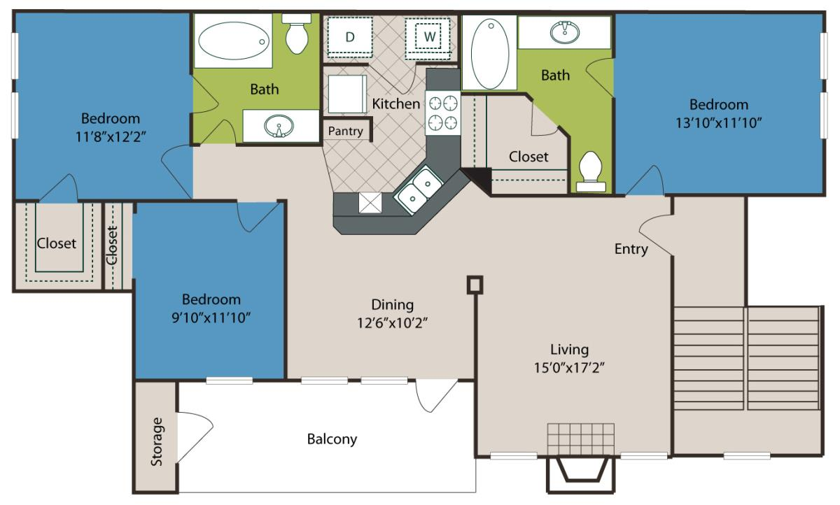 1,268 sq. ft. C2 floor plan