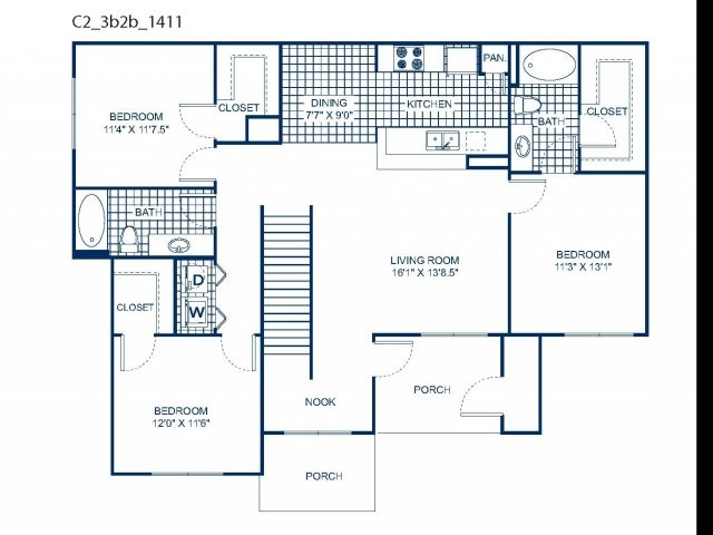 1,420 sq. ft. C2 floor plan