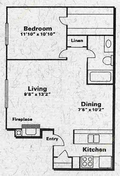 650 sq. ft. A1B floor plan