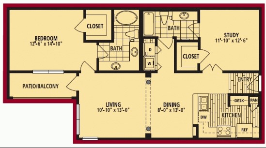 1,074 sq. ft. VERONA floor plan