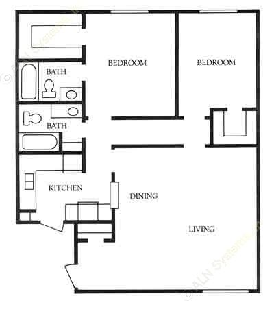 1,100 sq. ft. Arlington floor plan