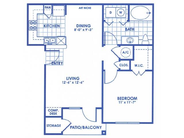 661 sq. ft. Corpus Christi floor plan