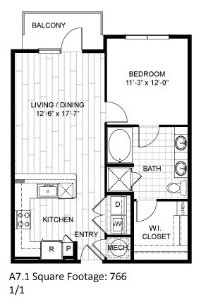 766 sq. ft. A7.1 floor plan