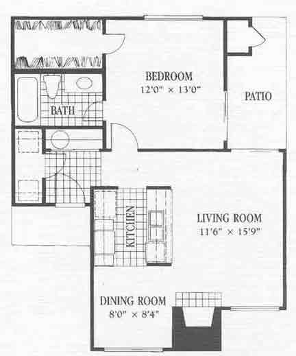 724 sq. ft. A9 floor plan