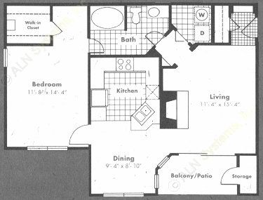 838 sq. ft. Chateaux floor plan
